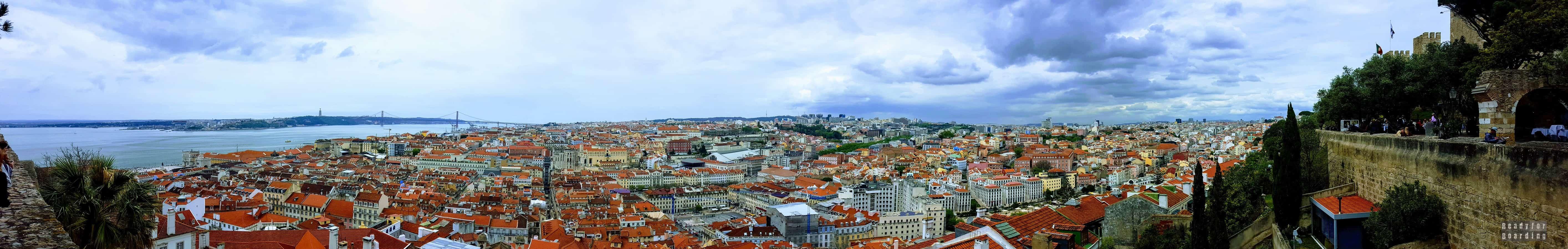 Panorama: Widok z Castelo de Sao Jorge (Zamek Św. Jerzego) - Lizbona