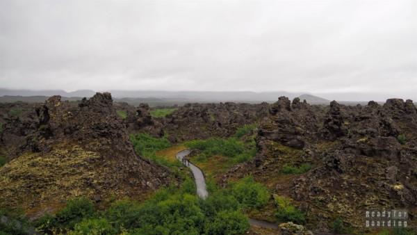 Dimmuborgir, Mývatn, Islandia północna - Droga do Akureyri