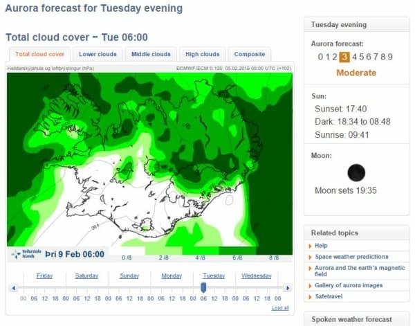 Prognoza zorzy polarnej na Islandii