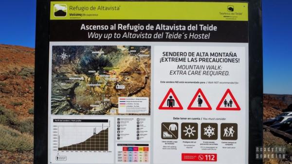 Tablica informacyjna na Teide, Teneryfa - Wyspy Kanaryjskie