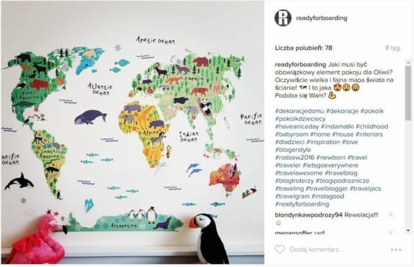 Prezent - mapa świata, naklejka na ścianę