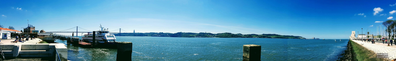 Panorama: Widok na rzekę Tag, Belem - Lizbona