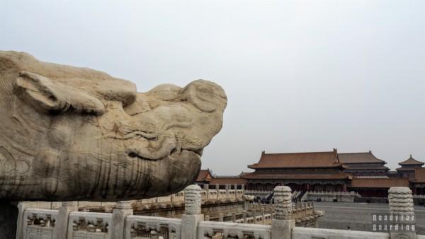 Głowa smoka jako element systemu drenażowego w Zakazanym Mieście, Pekin