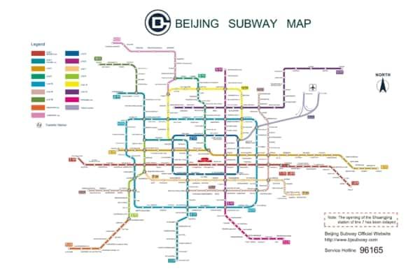 Mapa metra w Pekinie