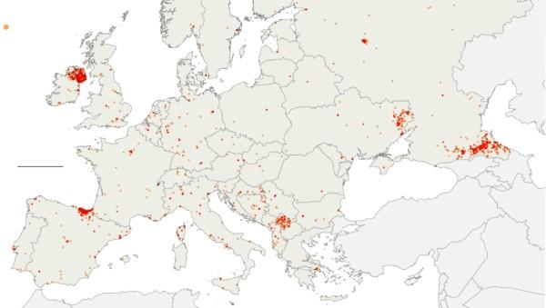 Mapa aktów terrorystycznych w Europie