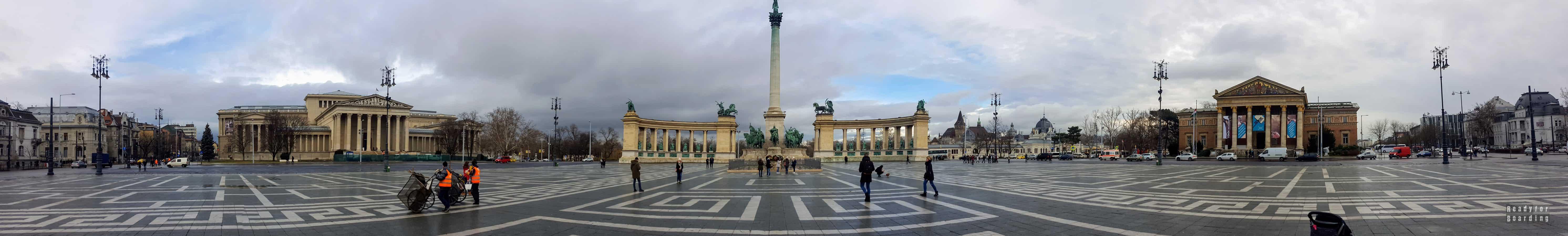 Panorama: Plac Bohaterów w Budapeszcie - Węgry